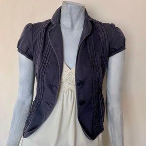 BCBGMaxAzria Gray Short Sleeve Shrug Blazer